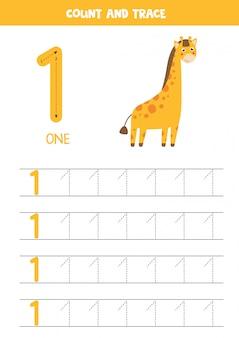 Foglio di lavoro per l'apprendimento dei numeri con la giraffa carina. numero 1.