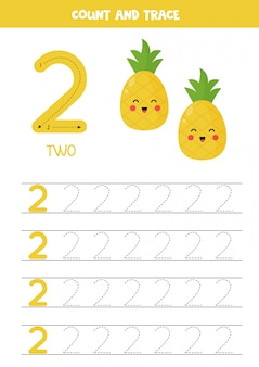 Foglio di lavoro per l'apprendimento dei numeri con simpatici ananas. numero 2.