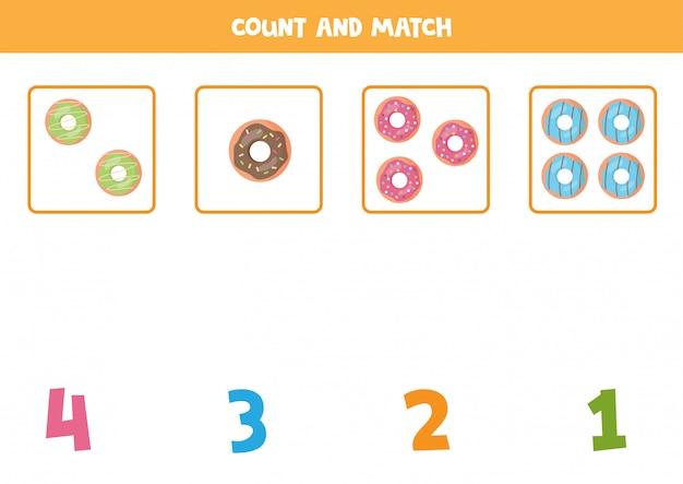 Foglio di lavoro per la matematica per bambini. conteggio del gioco con ciambelle simpatico cartone animato.