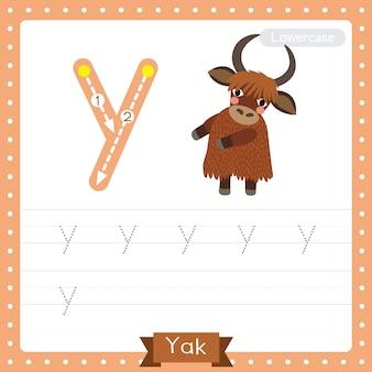 Foglio di lavoro per la pratica della traccia minuscola della lettera y. yak in piedi su due gambe