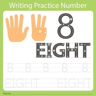 Foglio di lavoro pratica di scrittura numero otto