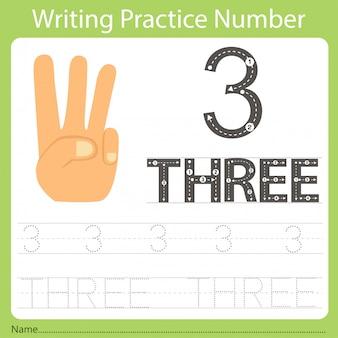 Foglio di lavoro pratica di scrittura numero tre