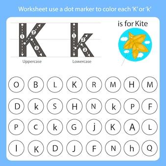 Foglio di lavoro usa un marcatore punto per colorare ogni k