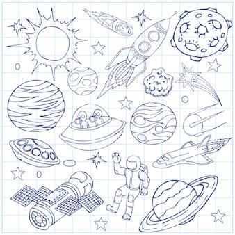Foglio di quaderno con scarabocchi dello spazio esterno