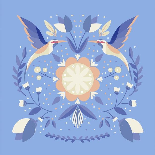 Folk art scandinavo motivo colorato con fiori e uccelli