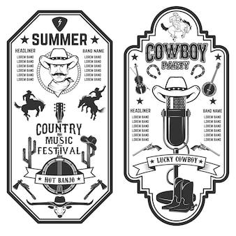 Folk rock party. modello di volantino festival di musica country estiva.
