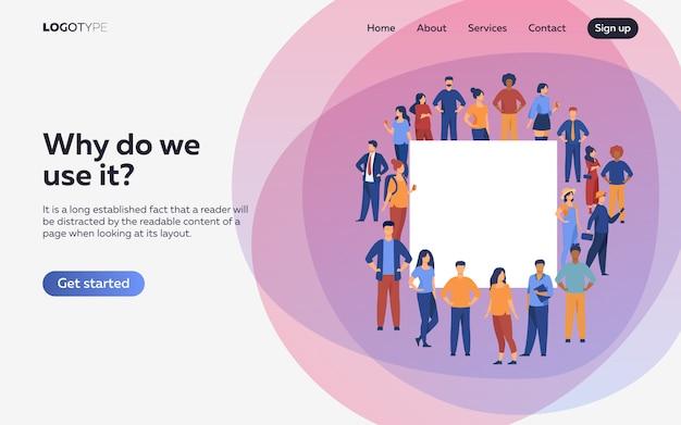 Folla di diverse persone in piedi insieme. pagina di destinazione o modello web