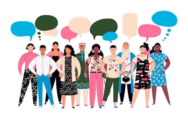 Folla di diversità - gruppo eterogeneo di persone dei cartoni animati con bolle di discorso