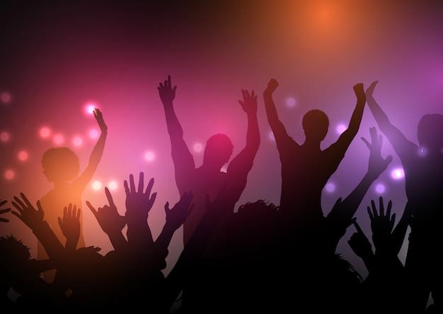 Folla di festa con sfondo di luci
