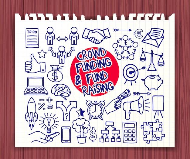 Folla di finanziamenti e fond raising. doodle icone penna su carta.