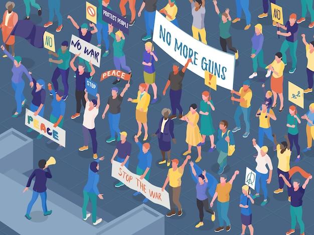 Folla di gente di protesta con i cartelli durante l'azione della via contro l'illustrazione orizzontale isometrica di vettore di guerra