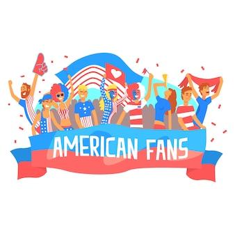 Folla incoraggiante felice sostenente dei punti nazionali di football americano team fans and devotees con le insegne e gli attributi