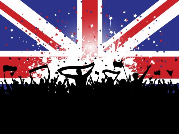 Folla silhouette su uno sfondo di bandiera inglese