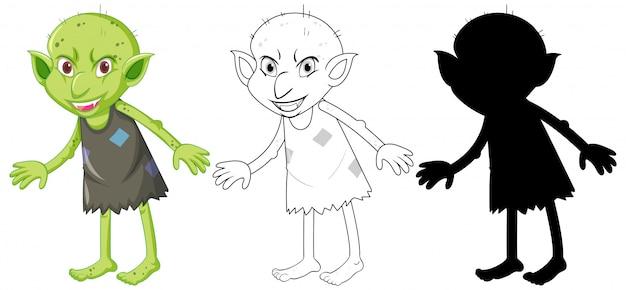 Folletto o troll a colori e silhouette in personaggio dei cartoni animati su sfondo bianco