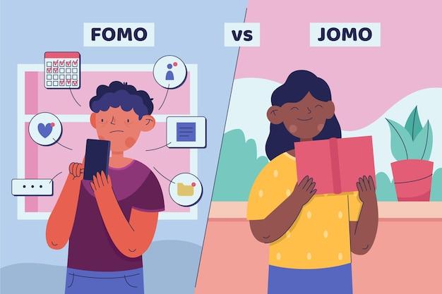 Fomo vs jomo illustrazione concetto