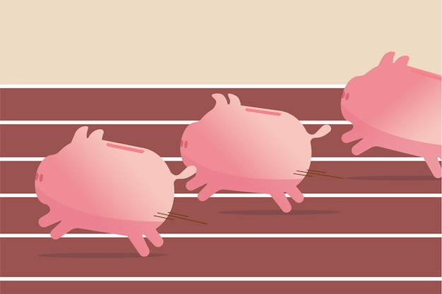 Fondi comuni di investimento, prestazioni di investimento in azioni o risparmi, concetto di profitto aziendale, salvadanai rosa che corrono veloci per raggiungere l'obiettivo, competono su pista e percorso sul campo per vincere il gioco del denaro finanziario.