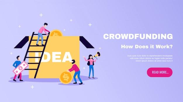 Fondi di crowdfunding che raccolgono l'insegna piana orizzontale del sito web degli elementi essenziali con la scatola di idee e leggi più illustrazione del bottone