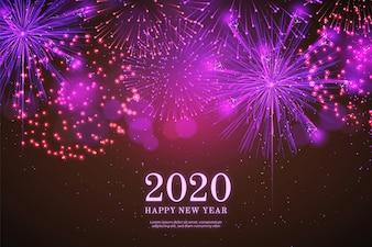 Fondo 2018 del nuovo anno dei fuochi d'artificio realistici nel nero