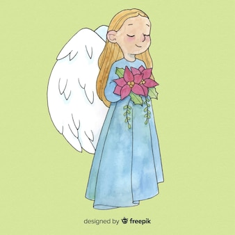 Fondo adorabile della ragazza di angelo di natale dell'acquerello