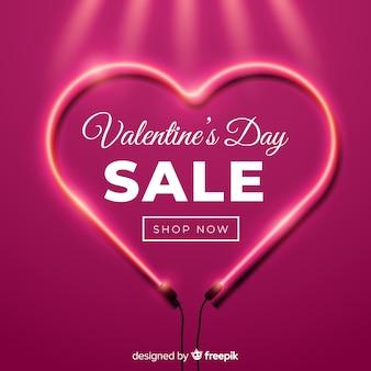 Fondo al neon del biglietto di s. valentino del cuore