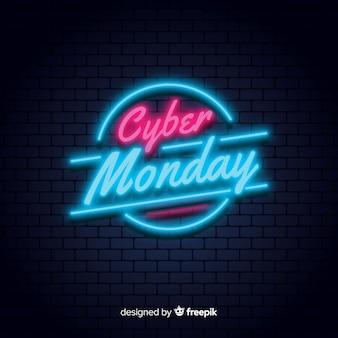 Fondo al neon di vendita di cyber lunedì