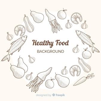 Fondo alimentare incolore disegnato a mano
