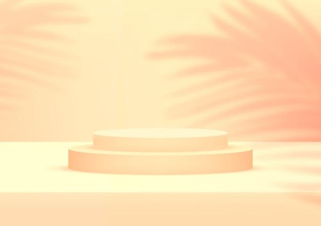 Fondo arancio dello studio vuoto del podio con le foglie di palma per l'esposizione del prodotto.