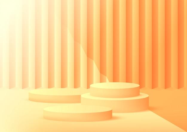 Fondo arancio dello studio vuoto del podio per l'esposizione del prodotto con lo spazio della copia.