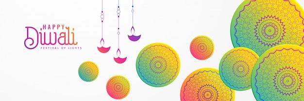 Fondo artistico di festival di diwali con la mandala decorativa