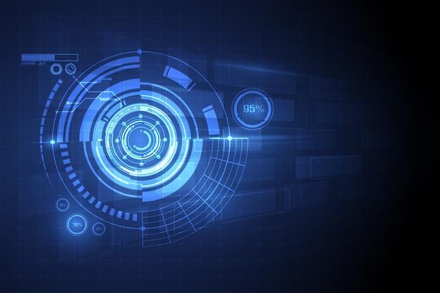 Fondo astratto blu di concetto dell'innovazione di tecnologia del cerchio