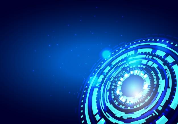 Fondo astratto blu di vettore di concetto dell'innovazione di tecnologia del cerchio