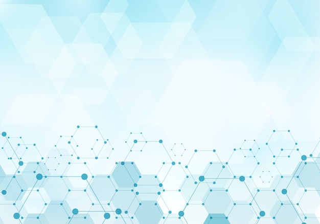 Fondo astratto del blu della molecola del modello di esagoni
