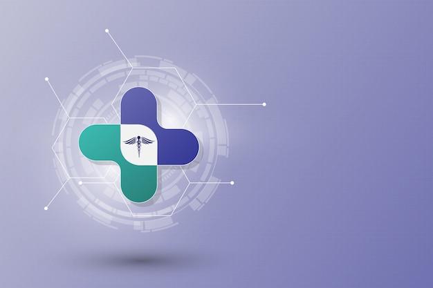 Fondo astratto del modello di concetto dell'innovazione di sanità