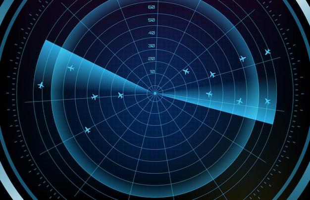 Fondo astratto del percorso futuristico dell'itinerario dell'aeroplano del radar di volo di ricerca dello schermo di tecnologia con il hud dell'interfaccia di ricerca