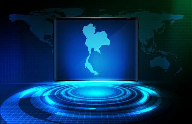 Fondo astratto dell'elemento futuristico blu dell'haudgram vr hud di tecnologia e mappe della tailandia sulla compressa astuta