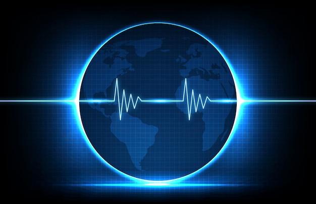 Fondo astratto della linea digitale di impulso di battito cardiaco ecg monitor e globo mappe del mondo europa e america