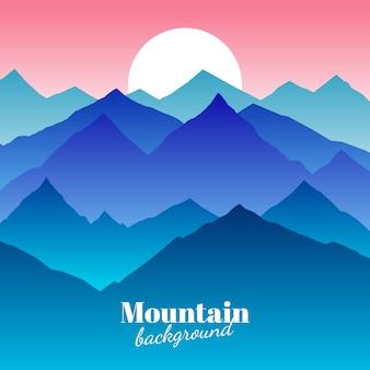 Fondo astratto della montagna della natura e fondo di vettore di tramonto
