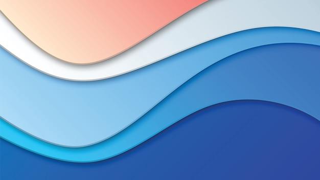 Fondo astratto della spiaggia con le forme ondulate del taglio della carta