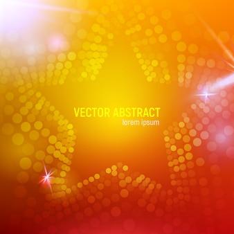 Fondo astratto della stella della maglia arancio 3d con i cerchi, chiarori della lente e riflessioni d'ardore. effetto bokeh