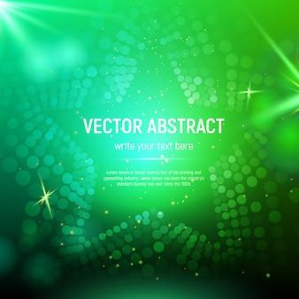 Fondo astratto della stella della maglia verde 3d con i cerchi, chiarori della lente e riflessioni d'ardore. effetto bokeh