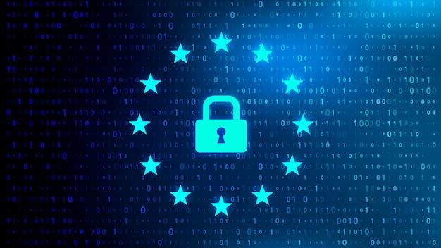 Fondo astratto di codice binario di tecnologia con le icone di gdpr