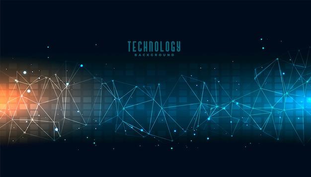 Fondo astratto di scienza di tecnologia con le linee di collegamento