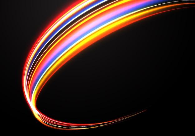 Fondo astratto di tecnologia di curveblack della luce di velocità di colore.