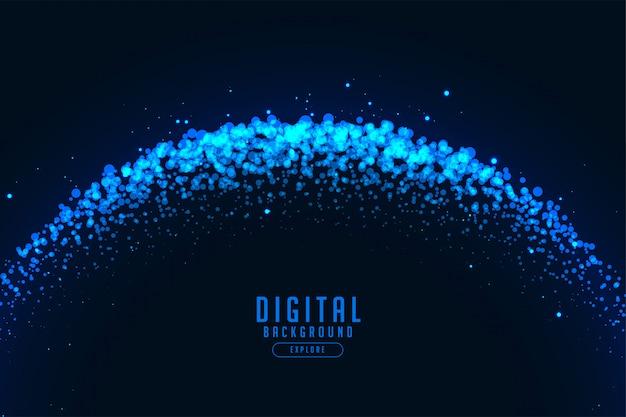 Fondo astratto di tecnologia digitale con particelle blu