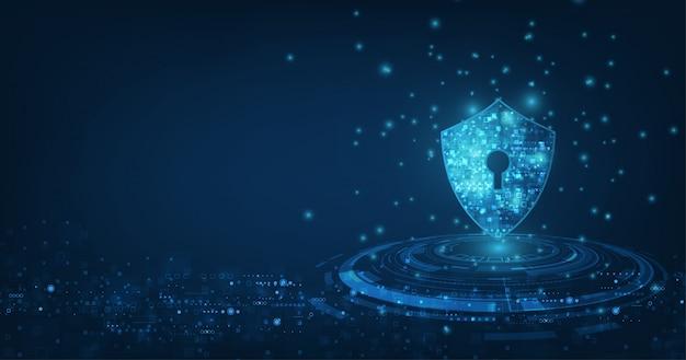 Fondo astratto di tecnologia digitale di sicurezza meccanismo di protezione e illustrazione di segretezza del sistema.