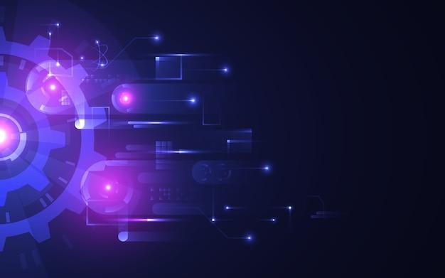 Fondo astratto di tecnologia. ingranaggi luminosi futuristici su sfondo scuro. concetto hi-tech con connessioni luminose. circuito moderno con elementi rotanti. innovazione digitale. illustrazione.