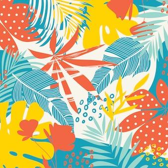 Fondo astratto di tendenza con le foglie e le piante tropicali luminose