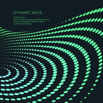 Fondo astratto di vettore con onde dinamiche colorate, linea e particelle. illustrazione adatta per il design