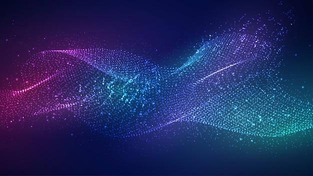 Fondo astratto dinamico delle particelle di flusso liquido.