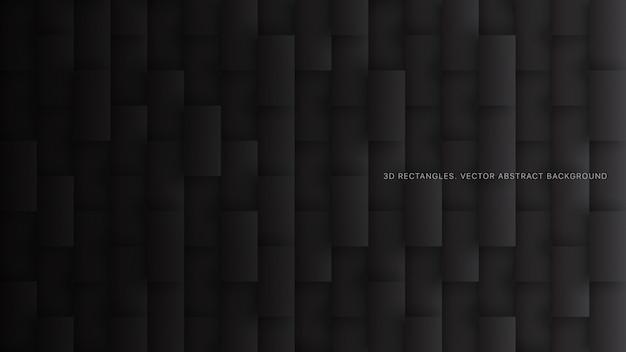Fondo astratto nero minimalista di tecnologia di rettangoli 3d